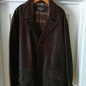 DARK Brown Men's Banana Republic LEATHER coat